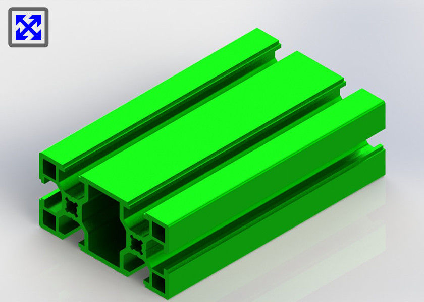 Green Powder Coating T Slot Aluminum Profile 30 * 60 For Exhibition Shelf